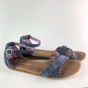 Tom's Girl's Denim Strap Sandals